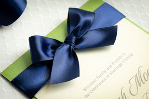 Layered, Ceremony Programs with Satin Bows (Set of 5)