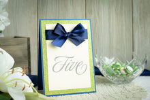 Table Number Signs with Glitter and Satin Bows