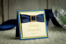 Square Place Cards with Glitter, Ribbon, and Buckles (Set of 5)