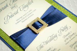 Ceremony Program Cards with Glitter, Ribbon, and Buckles (Set of 5)