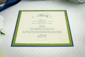 Square Menu Cards with Glitter (Set of 5)