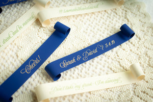 Double-Sided, Champagne Place Card Scrolls (Set of 5)