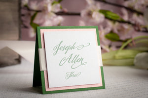 Square Place Cards with Glitter and Ribbon (Set of 5)