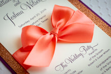 Ceremony Program Cards with Glitter and Satin Bows (Set of 5)