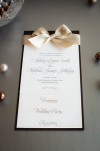 Mini, Layered, Ceremony Programs with Satin Bows (Set of 5)