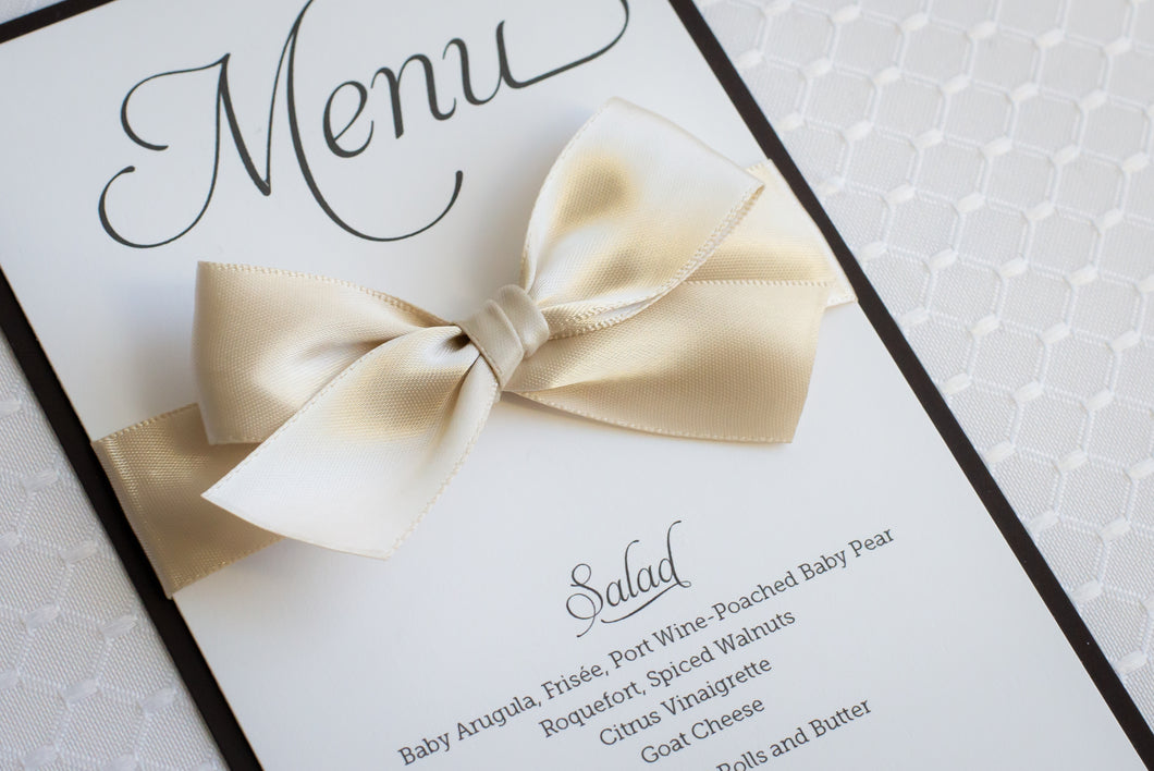 Mini Menu Cards with Satin Bows (Set of 5)