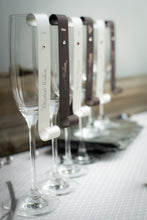 Double-Sided, Champagne Place Card Scrolls with Crystals (Set of 5)