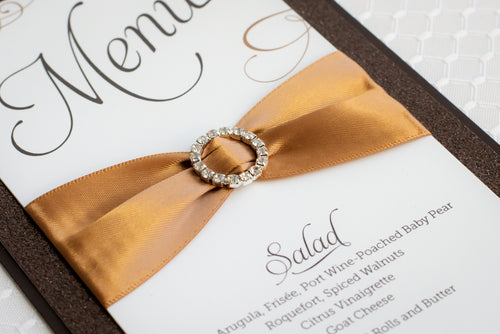 Menu Cards with Glitter, Ribbon, and Buckles (Set of 5)