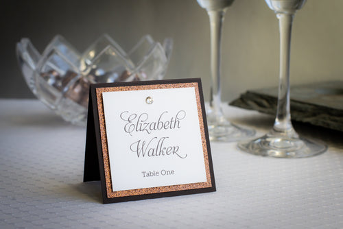 Square Place Cards with Glitter and Crystals (Set of 5)