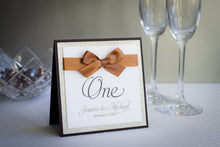 Square, Table Number Signs with Glitter and Satin Bows