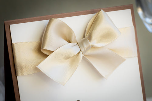 Personalized Table Number Signs with Satin Bows