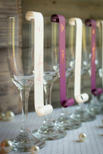 Velvet's Champagne Place Card Scroll