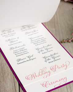 Layered, Ceremony Programs with Buckles (Set of 5)