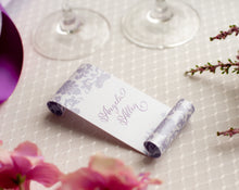 Damask-Patterned Place Card Scrolls (Set of 5)