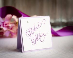 Square, Layered Place Cards with Pearls (Set of 5)