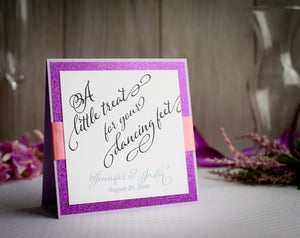 Square Signs with Glitter and Ribbon