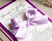 Mini, Ceremony Program Cards with Glitter and Bows (Set of 5)