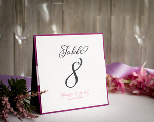 Square, Table Number Signs with Ribbon