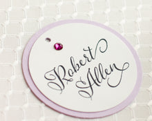 Round, Layered, Place Card Tags with Crystals (Set of 5)