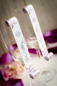 Swirly Champagne Place Card Scrolls