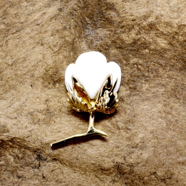 cotton boll tie tack with white stone