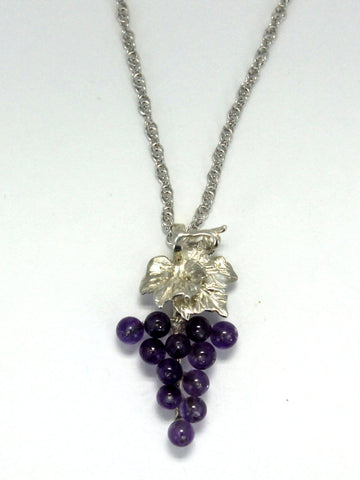 Grape Cluster Necklace in 925 sterling silver with amethyest gemstones