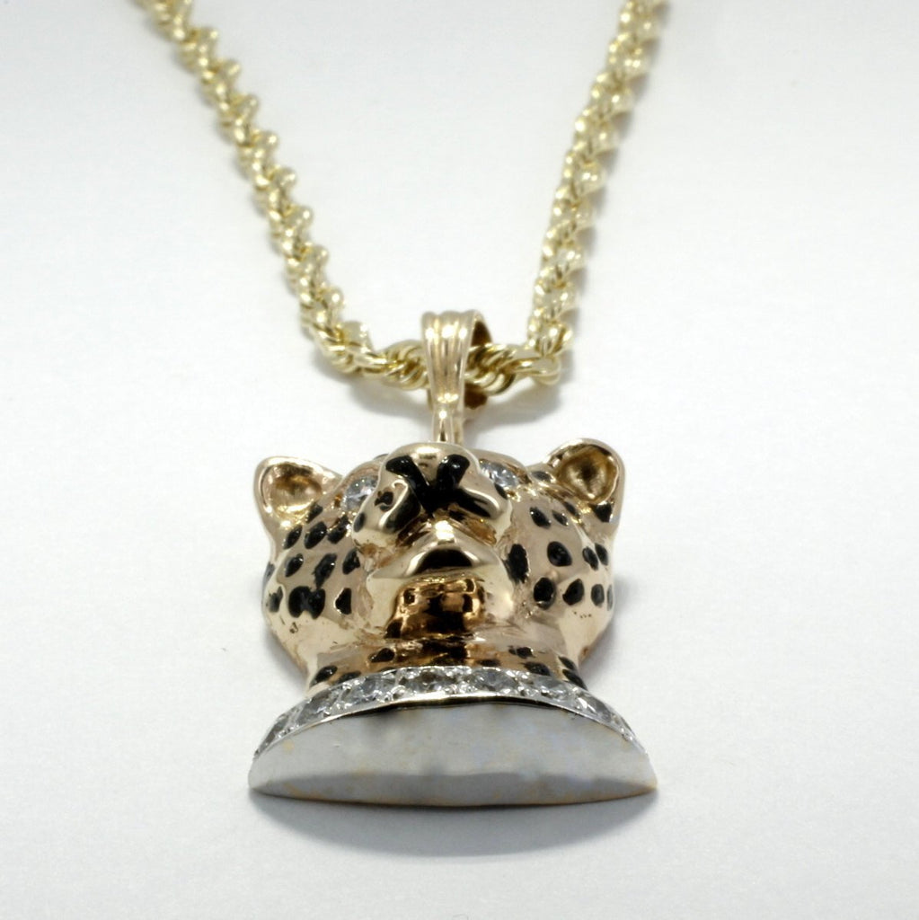 Mans Leopard Head Necklace in 14kt yellow gold  with a diamond collar on rope chain