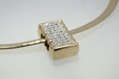 "14kt gold Diamond Cotton Bale Slide Necklace on 16"" Omega chain"