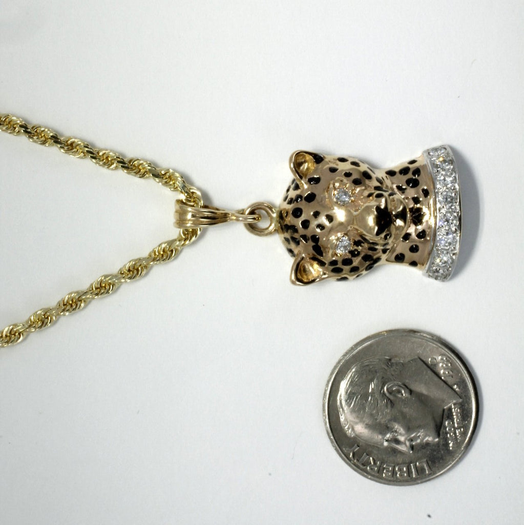 Mens Jewelry Leopard Head Necklace