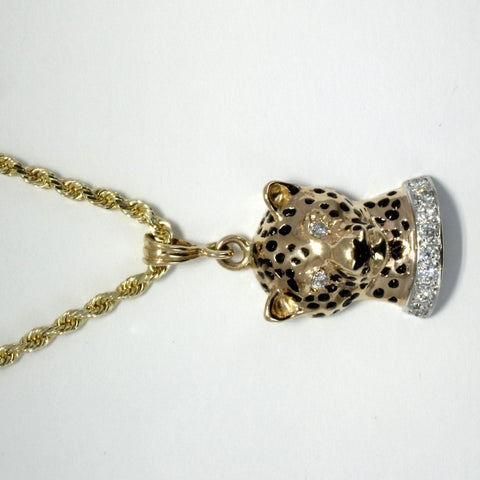 Mans Jaguars Head Gold Necklace with diamond collar