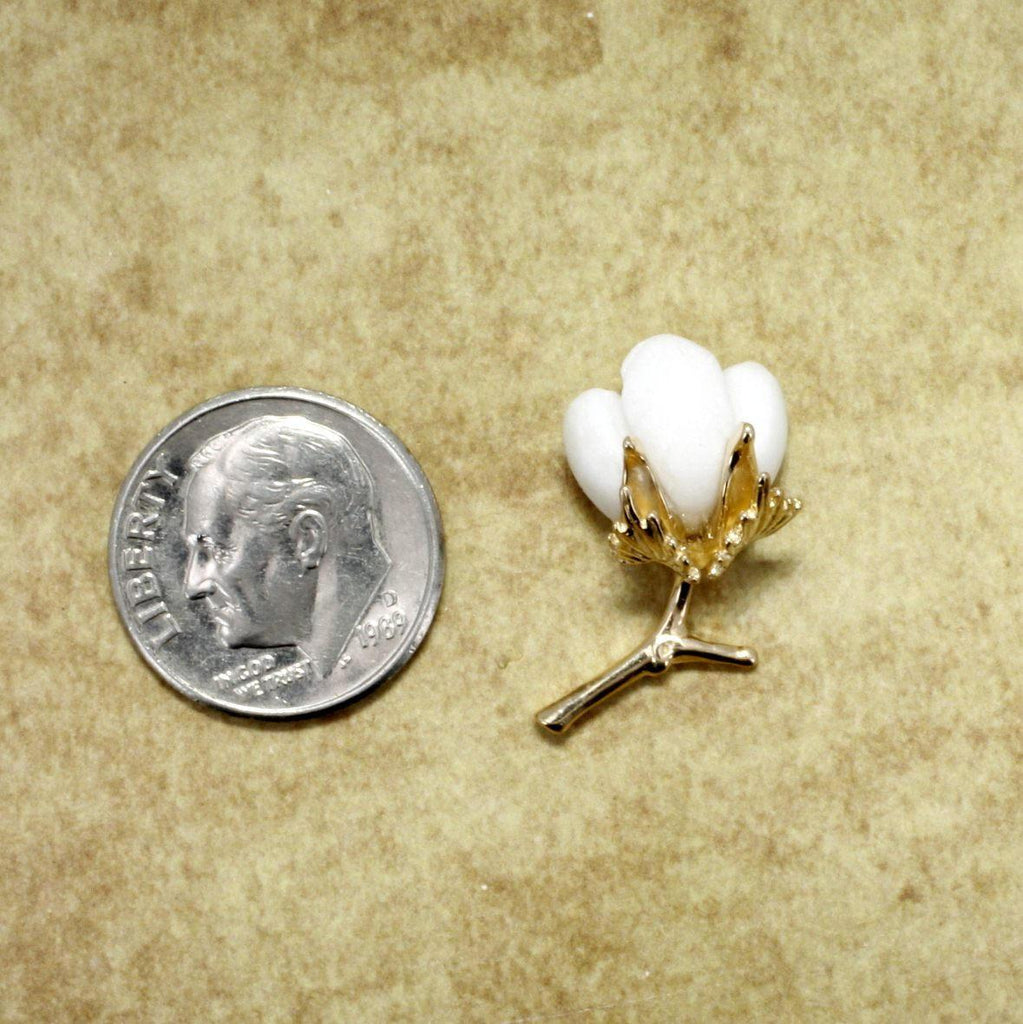 Cotton Boll Tie Tack with Cotton Leaf