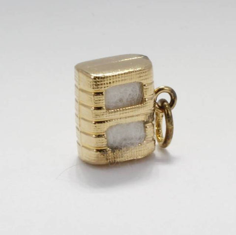 Gold Filled Cotton Bale Charm with Real Cotton