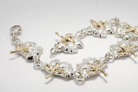 Two Tone 14kt. gold and Sterling Silver Cotton Boll Link Bracelet by agrijewelry.com