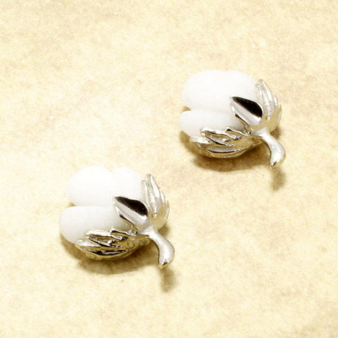 Cotton Boll Jewelry,14kt White Gold Cotton Boll Earr