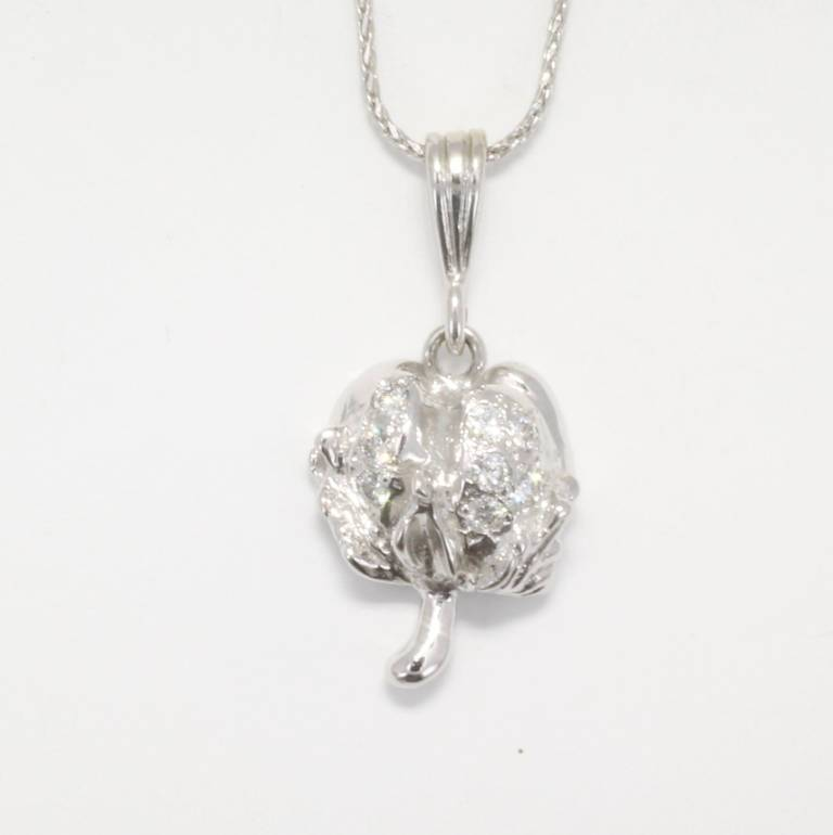 Diamond Cotton Boll Necklace in white gold by agrijewelry.com