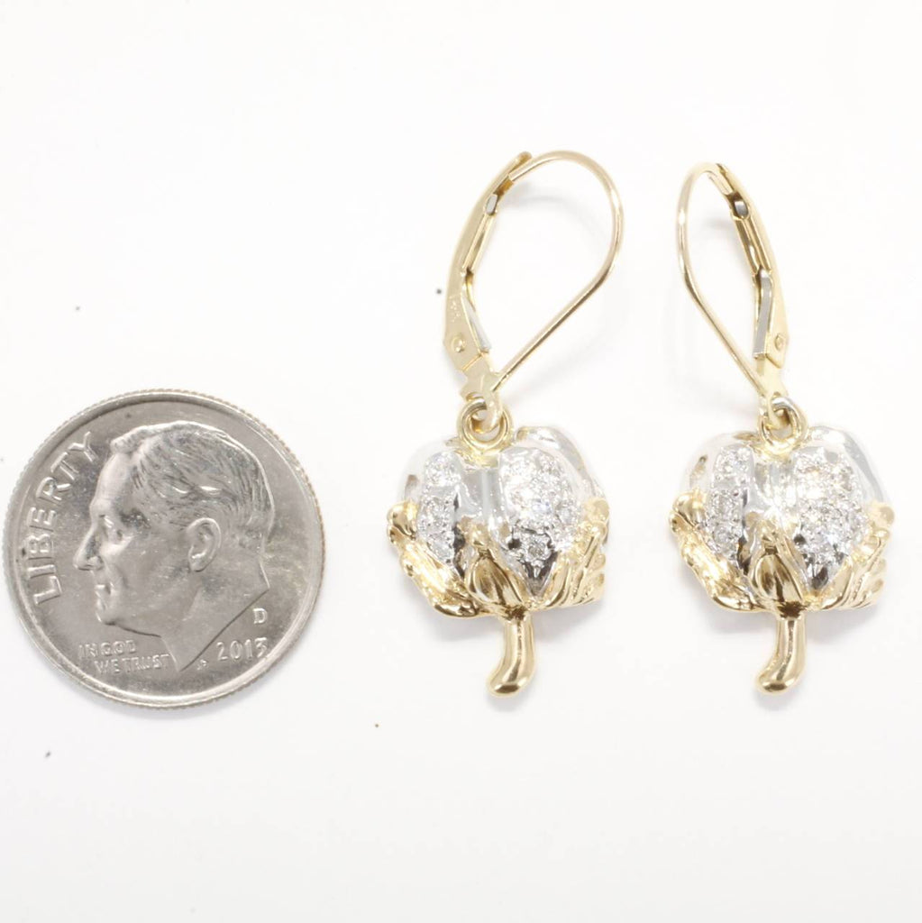 Diamond Medium Cotton Boll Dangle Earrings