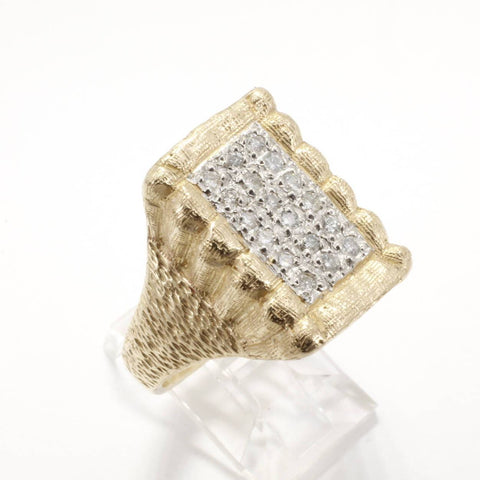 Mans Large Diamond Cotton Bale Ring