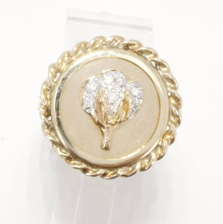 Single Cotton Boll Large Coin Ring in 14kt yellow gold