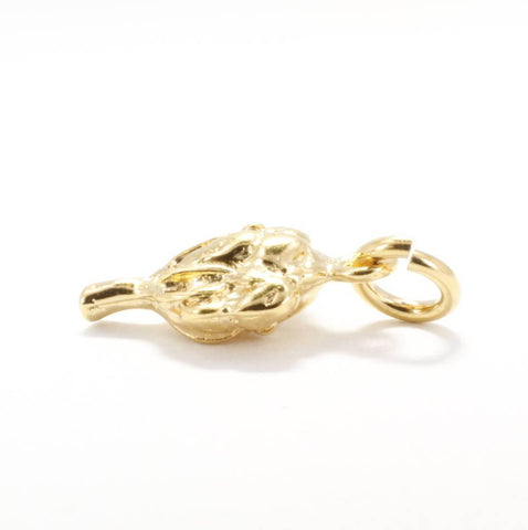 Small 14kt gold vermeil Cotton Boll Charm for her bracelet by agrijewelry.com