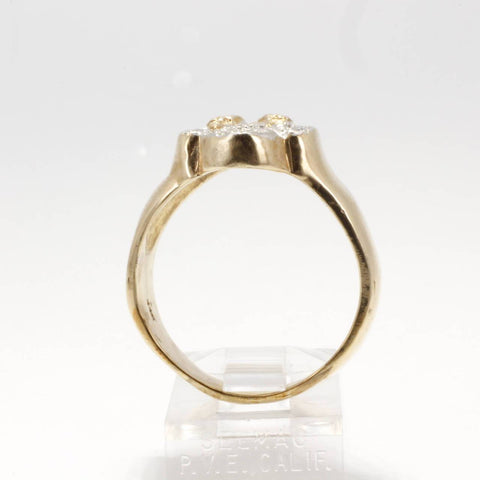 Ladies 14kt gold Diamond Cotton Boll Ring