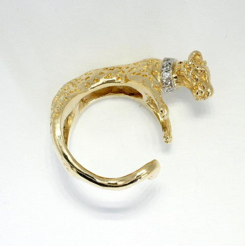 18kt Gold Leopard Wrap Ring with Diamond Collar