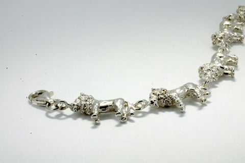 925 Sterling Silver Full Body Lion Bracelet