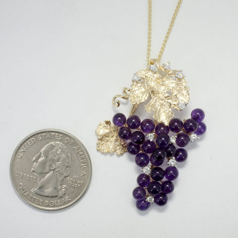 Large Amethyst Grape Cluster Necklace,Wine Lover Gift grape lover gift for wife