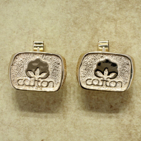 Cotton Inc Cuff Links in 14kt Gold, Cotton Incorporated Seal of Cotton Jewelry