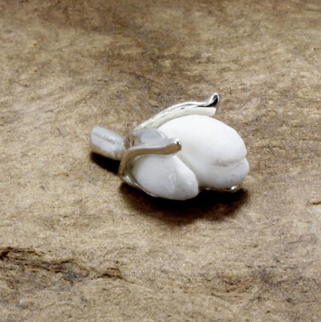 silver cotton boll tie tack with white stone 2nd anniversary gift for him
