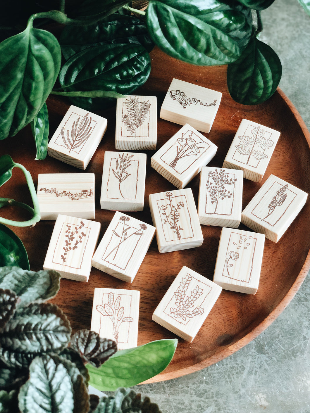 Lined Floral Rubberstamps