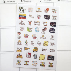 Holiday, Events And School Sticker Sheet