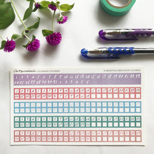 6 Month Mini Date Covers Functional Planner Stickers