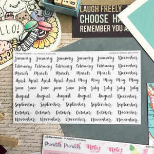 Planner Stickers - Handlettered Months