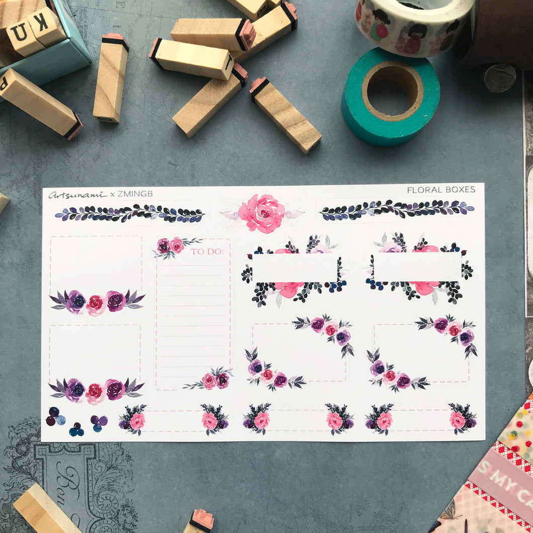 Planner Stickers - Floral Boxes